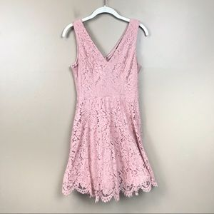 Lulus pink lace mini dress fit and flare small